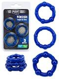 Push Monster Cockring - Triple Set Blue
